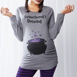NEW Motherhood Maternity Halloween Gray Shirt M
